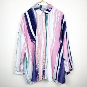 ASOS Oversized Watercolor Print BU Tunic Blouse